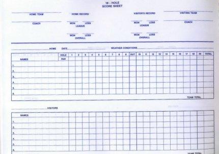 18 Hole Score Sheet