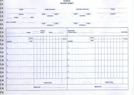 9 hole score sheet