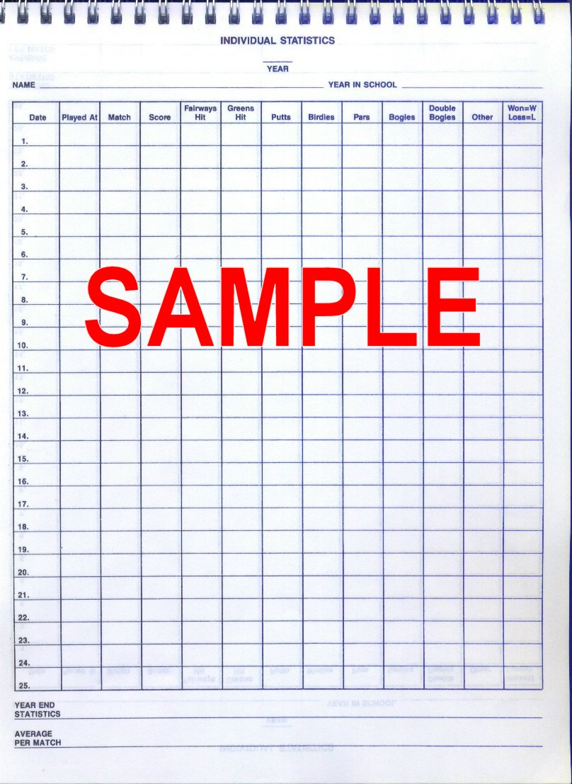 Golf Sheets Team Gear Easy Score Book Coaches Scoring