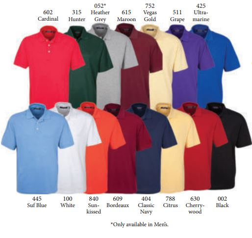Team Golf Gear Oxford Golf Shirts Color Chart
